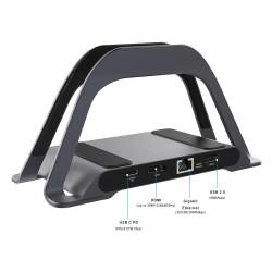 Hub USB Motrix® Type-C Docking Stand pentru MacBook 1 x HDMI, 1 x RJ45 Gigabit Ethernet, 2 x USB 3.0, 1 x USB 2.0, 1 x Power Delivery, 1 x SD Card reader, 1 x micro SD card reader, 1 x Audio Jack