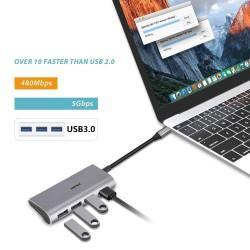 Hub adaptor Motrix® USB Type-C la 1xHDMI, 3xUSB3.0, 1xPower Delivery
