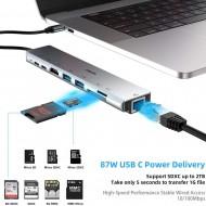Hub adaptor Motrix® USB Type-C la 1xEthernet RJ45, 1xSD Card Reader, 1xTF Card Reader, 2xUSB3.0, 1xHDMI, 1xType-C Thunderbolt 3, 1xPower Delivery port