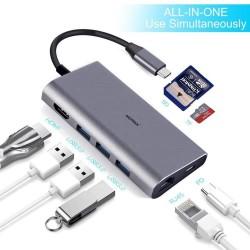 Hub adaptor Motrix® USB Type-C la 3xUSB3.0, 1xHDMI, 1xPower Delivery port, 1xGigabit Ethernet RJ45 pentru MacBook, Google Chromecast TV 4K