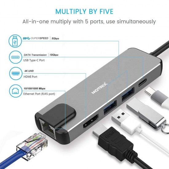 Hub adaptor Motrix® USB Type-C la 1xGigabit Ethernet, 2xUSB3.0, 1xHDMI, 1xType-C Thunderbolt 3, 1xPower Delivery port, compatibil Macbook Pro, MacBook Air, Google Chromecast TV