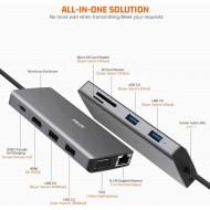 Hub adaptor Motrix® USB Type-C la 1xHDMI, 1xVGA, 1xRJ45 Gigabit Ethernet, 2xUSB2.0, 2xUSB3.0, 1xPower Delivery 3.0, 1xSD card reader, 1xMicro SD card reader, 1xAudio Jack 3,5mm