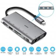 Hub adaptor Motrix® USB Type-C la 3xUSB3.0, 1xVGA, 1xGigabit Ethernet RJ45, 1xAudio Jack, 1xSD Card Reader, 1xTF Card Reader, 1xHDMI, 1xPower Delivery port, compatibil Macbook Pro, MacBook Air
