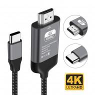 Cablu USB Motrix® Type-C la HDMI 4K @60Hz si USB-C cu Power Delivery, 2 metri