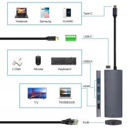 Hub Motrix® USB Type-C, 1xHDMI, 3xUSB3.0, 1xPower Delivery, 1xGigabit Ethernet RJ45, pentru MacBook Pro, MacBook Air, Google Chromecast TV 4K