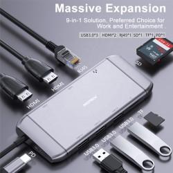 Hub adaptor Motrix® USB Type-C 2xHDMI, 3xUSB 3.0, 1xPower Delivery, 1xSD Card reader, 1xMicro SD Card reader, 1xGigabit Ethernet RJ45