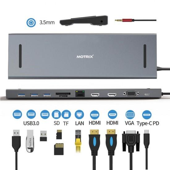 Hub Type-C 11 in 1 expansion dock Motrix® SD/TF Card Reader 2xHDMI 3xUSB 3.0 4K 1xVGA 1xRJ45 1xAudio Jack 3,5 mm, MacBook Pro / Air