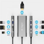 Hub adaptor Blueendless USB Type-C la 3 x USB 3.0, 1 x HDMI 4K, SD/MicroSD Card Reader, USB 3.1 Type-C Power Delivery Charging Port