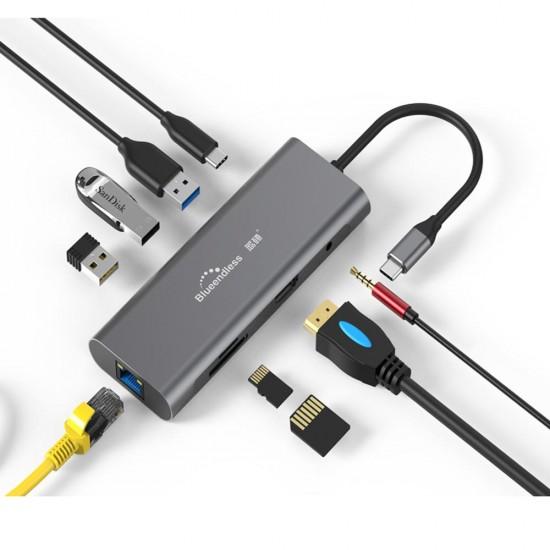 Hub USB 3.1 Type C, 9 in 1, HDMI 4K, Gigabit LAN, 3xUSB 3.0, card reader, jack audio 3.5 mm, Power Delivery port