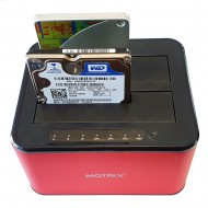 "HDD Docking Station Motrix® Dual Bay 2.5""/3.5"" SATA la USB 3.0, functie back-up si clonare, rosu"