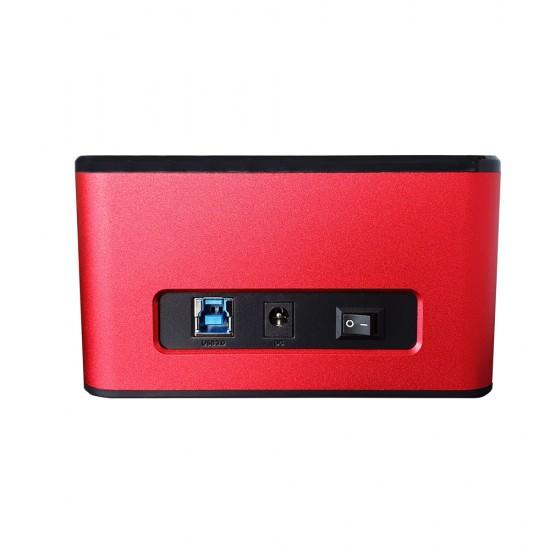 "HDD Docking Station Motrix® Dual Bay 2.5""/3.5"" SATA la USB Type-C, functie back-up si clonare, rosu"