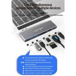 Hub USB 3.0 MacHub Laptopia® Type-C Thunderbolt TF/SD/Micro Card Reader HDMI 4K pentru MacBook Pro, MacBook Air, husa piele naturala