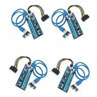 Riser Card mining-Set 4 buc. - Ethereum PCE164P-N07 V007 compatibil PCI-E Express 1X-16X cablu USB 3.0