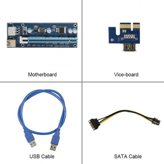 Riser Card-Set 8 buc-mining Ethereum PCE164P-N07 V007 compatibil PCI-E Express 1X-16X cablu USB 3.0