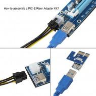 Riser Card Mining Ethereum PCE164P-N07 VER007 PCI-E Express 1X-16X cablu USB 3.0